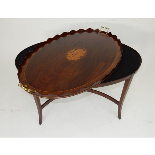 Kittinger Inlaid Mahogany Serving Table For Sale - Image 6 of 13