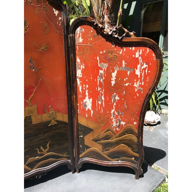 1900s Victorian Art Nouveau 3-Panel Screen For Sale - Image 5 of 12