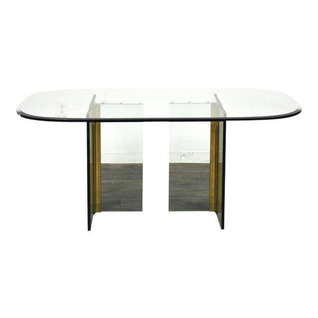 Pace Collection Glass and Brass Modern Dining Table For Sale
