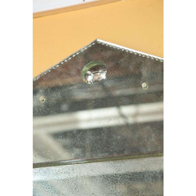 Hollywood Regency Hollywood Regency Venetian Style Rare Pyramid Design Bevelled Mirror For Sale - Image 3 of 8