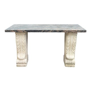 Neoclassical Style Cast-Stone and Granite Table For Sale