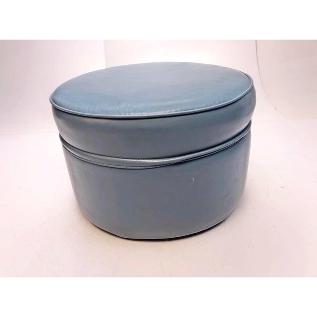Vintage Mid Century Blue Vinyl Round Foot Stool Ottoman For Sale - Image 6 of 12