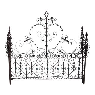 Custom Made Gothic Iron Bed with Bronze Skulls For Sale