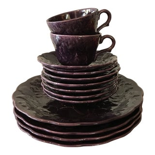1940s Vintage California Pottery Purple Mugs & Dishes - Set of 13 For Sale