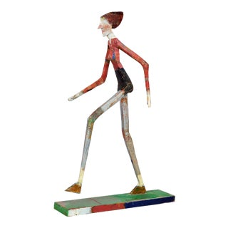 Fetching Carved and Painted Sculpture of a Walking Woman by Gustaf Miller For Sale