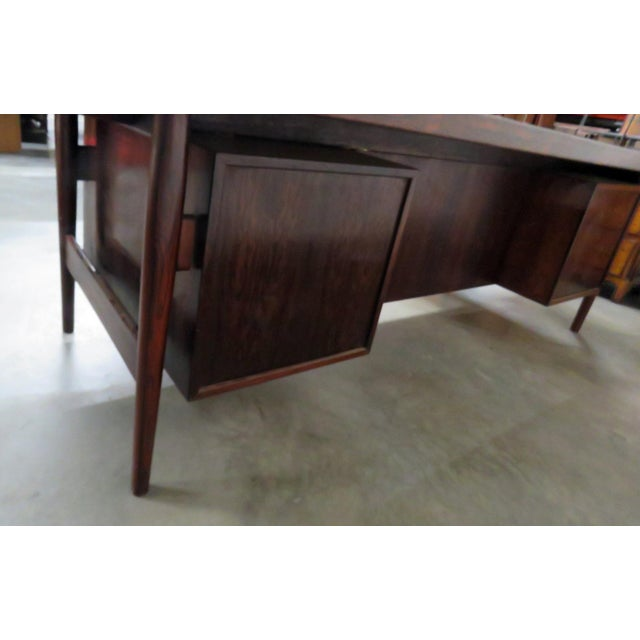 Large Mid-Century Modern Rosewood Desk For Sale - Image 10 of 11