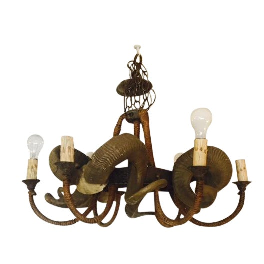 Rustic Bohemian Style Ram Horn Chandelier - Image 1 of 6
