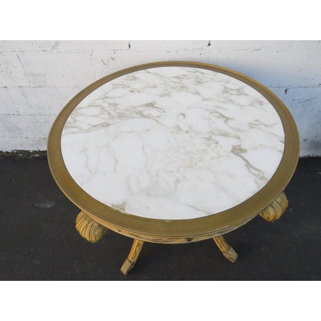 Mid 20th Century French Painted Heavy Carved Marble Top Large Center Table For Sale - Image 5 of 11