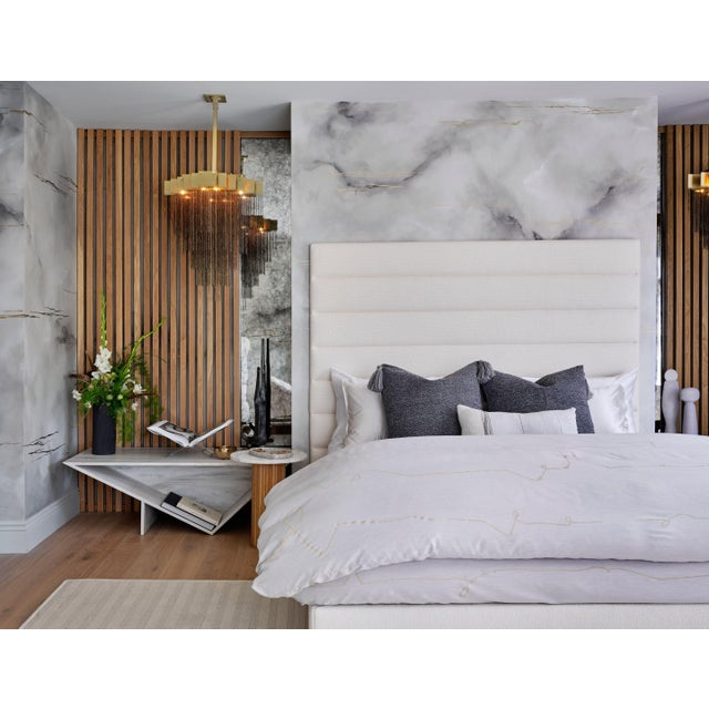 2020s Featured in The 2020 San Francisco Decorator Showcase — Kristen Pena Custom Upholstered Bed Frame For Sale - Image 5 of 5