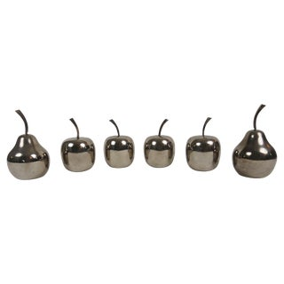 Silver Plated Sculpture Fruit Collection - Set of 6 For Sale