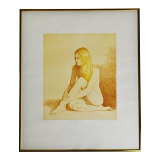 "Vintage Framed L. Russomanno Pencil Signed & Numbered Nude Woman Etching ""Solitude"" For Sale"