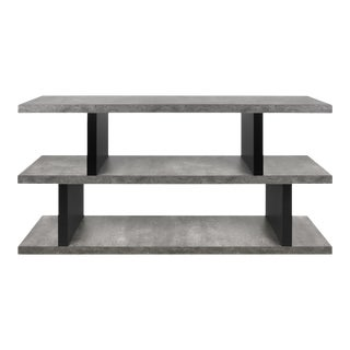 Contemporary Wood Faux Concrete Finish Black Accent Low Display Shelves For Sale