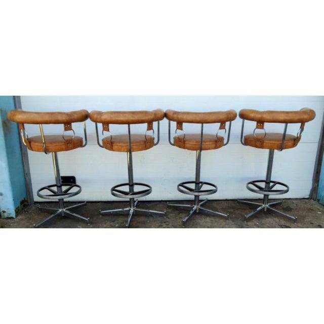 Vintage Vinyl Bar Stools - Set of 4 - Image 4 of 6
