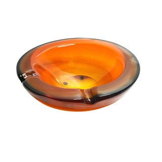 Vintage Mid Century Authentic Murano Sommerso Art Glass Amber Bowl For Sale