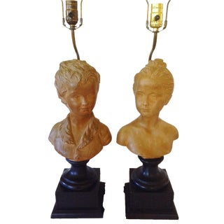19th Century Terra Cotta Bust Lamps - a Pair For Sale