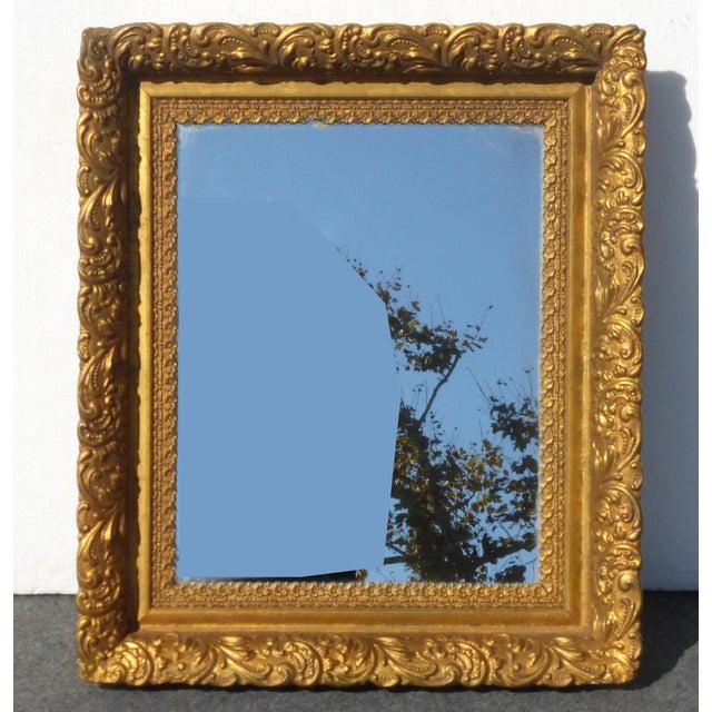 Vintage Antique Wall Mantle Mirror Decorative Gold Gilt Ornate Square Frame For Sale - Image 10 of 10