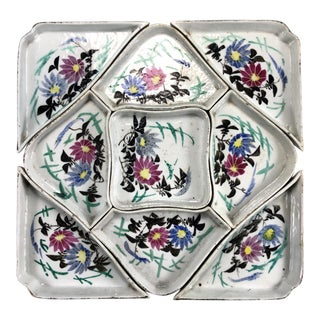 Early 20th Century Antique Chinese Famille Rose-Noire Porcelain Nine Sweetmeat Dishes For Sale