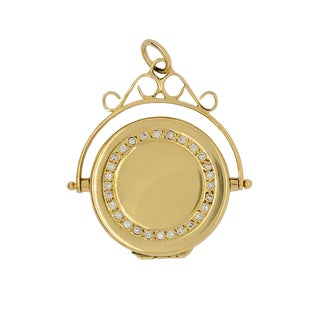Victorian 18k Gold and Diamond Two Sided Locket Pendant For Sale