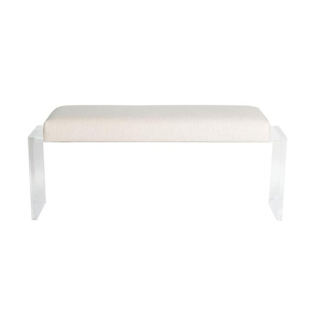 Moller Lucite Upholstered Bench For Sale - Image 4 of 5