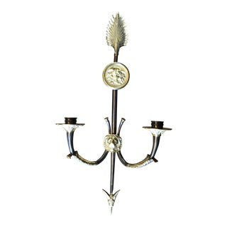 1980s Maison Jansen Steel and Bronze Arrow Sconce For Sale