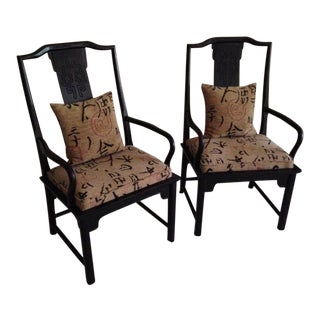 1970s Vintage Century Furniture Co Chin Hua Dining Armchairs- A Pair For Sale