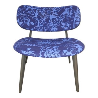 Davis PLC Lounge chair in blue print For Sale