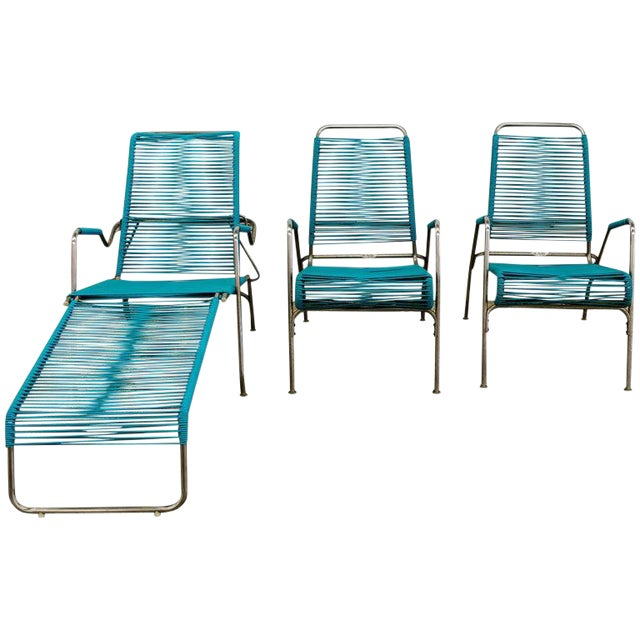 Patio Furniture by Surf Line, 2 Lounge Chairs, 1 Chaise in Stainless and Aqua For Sale