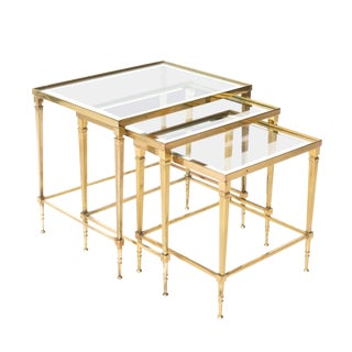 Brass and Glass Nesting Tables - Set of 3 For Sale