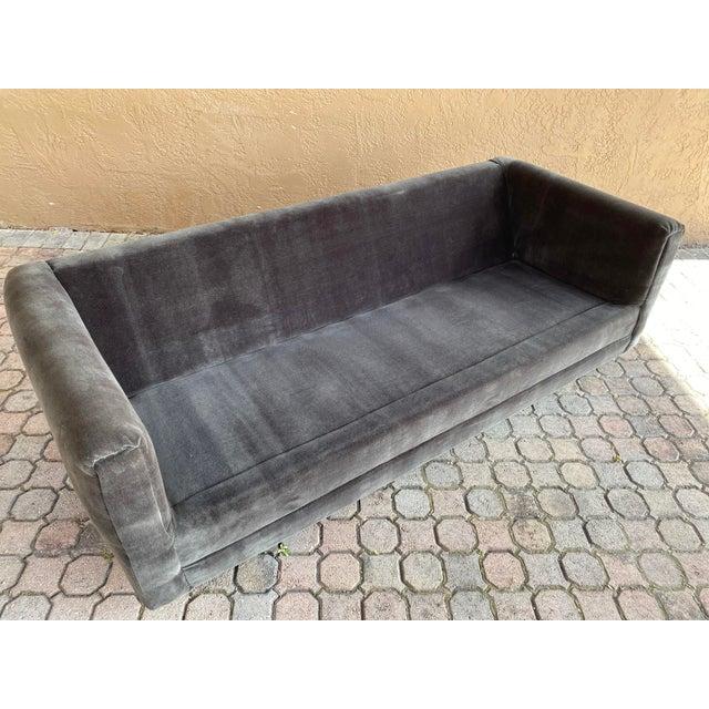 Gray Restored 70s Gray Velvet Tuxedo Sofa For Sale - Image 8 of 9
