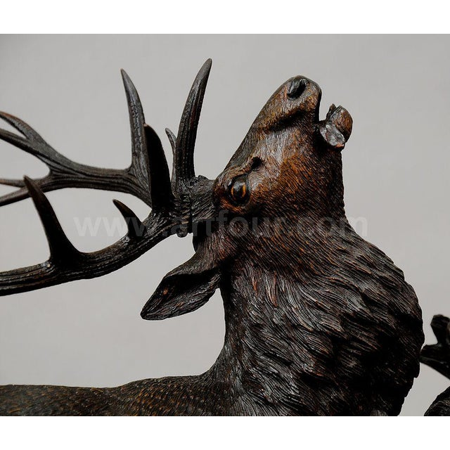Grandiose Carved Wood Fighting Stags By Rudolph Heissl For Sale - Image 4 of 9