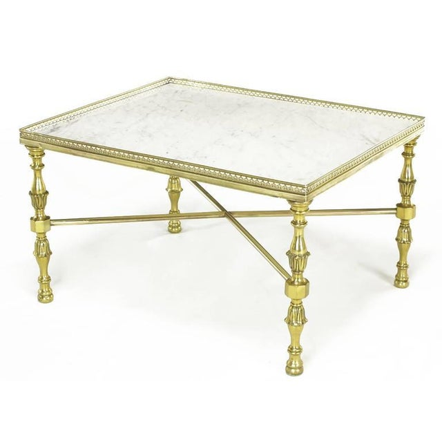 Brass Gallery and Carrara Marble Regency X-Base Side Tables - Image 4 of 7