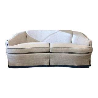 Curved Sofa in Heavy Linen For Sale