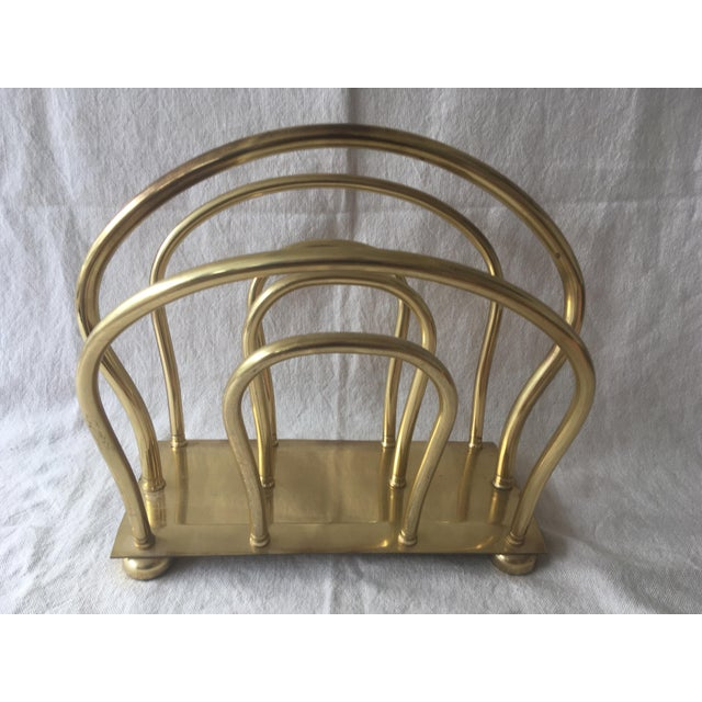 Brass 1980s Mid Century Solid Brass Magazine Rack For Sale - Image 8 of 9