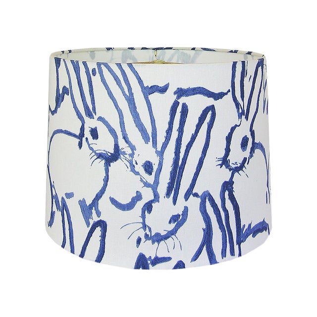 Blue and Ivory White Rabbit Lamp Shade For Sale