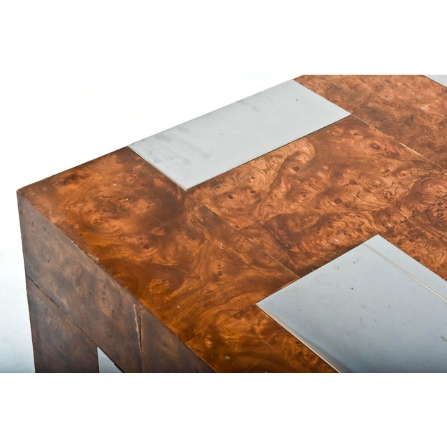 Modern American Modern Burl Walnut and Chrome Two-Door Cabinet, Paul Evans For Sale - Image 3 of 9