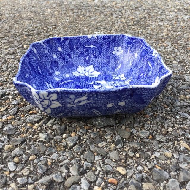 Asian Vintage Blue Transferware Chintz Bird Bowl For Sale - Image 3 of 9