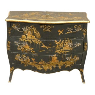 Vintage Mid Century Italian Chinoiserie Japanned 3 Drawer Chest For Sale