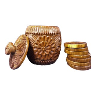 Hand Carved Wooden Box & Coasters - Set of 8