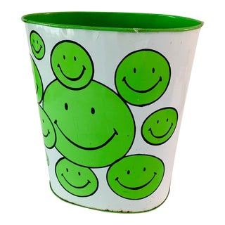 "1970s Vintage ""Have a Nice Day"" Smiley Face Wastebasket TrashCan - Scarce Green Version For Sale"