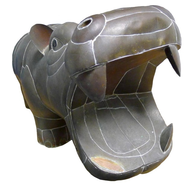 1970s mixed metal patchwork hippo by Sergio Bustamante. Constructed of brass and copper. Overall dark unpolished patina....