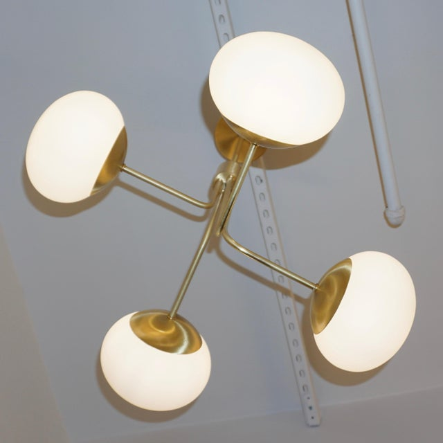 Contemporary Italian Modern Satin Brass & 4 White Murano Glass Globe Chandelier For Sale - Image 9 of 13