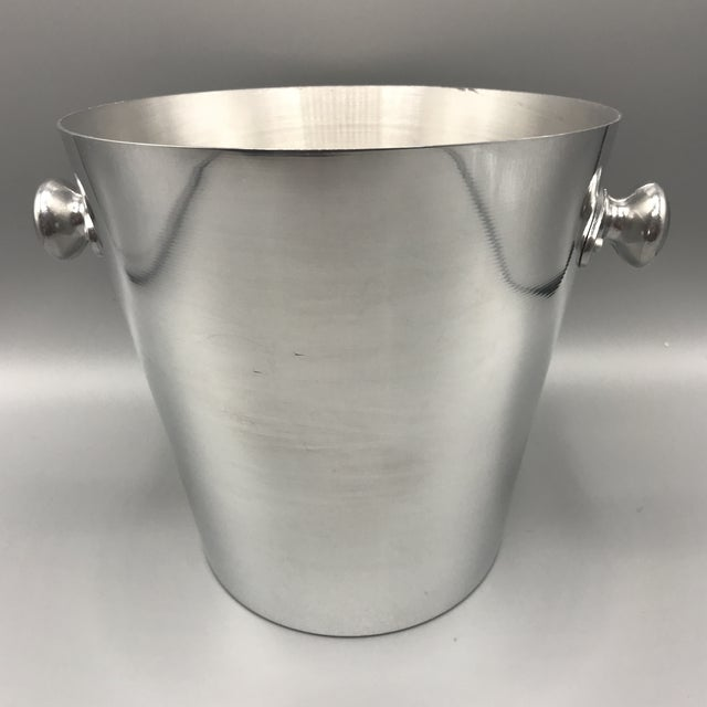 French Vintage Perrier Jouet Epernay-France Polished Aluminum Presentation Champagne Bucket For Sale - Image 3 of 13