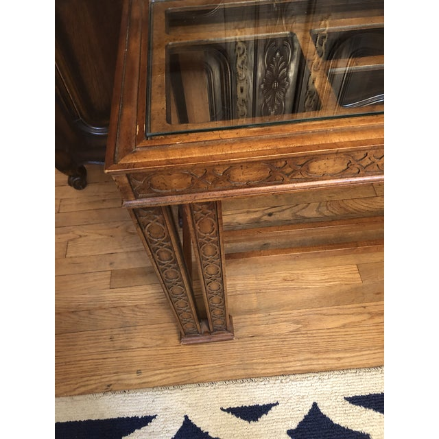 Vintage console made by Henredon. Tons of chinoiserie style with tons of fretwork. It has some minor imperfections in the...