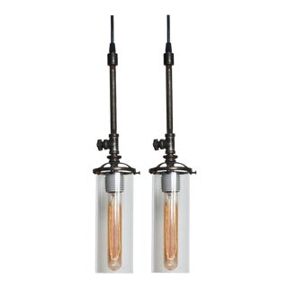 Cylinder Glass Shade Industrial Pendants - a Pair For Sale