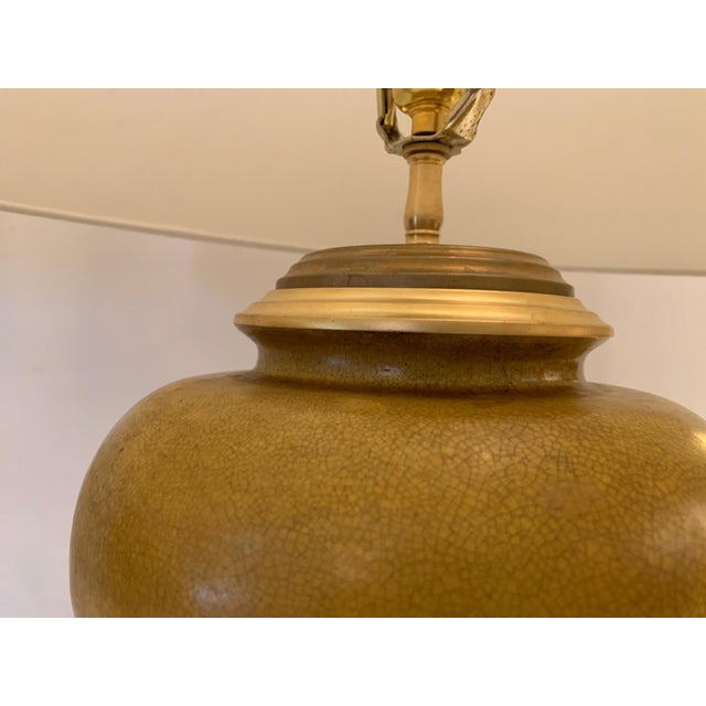 Vintage Ochre Jar Shaped Ceramic Table Lamps -A Pair For Sale In Philadelphia - Image 6 of 13