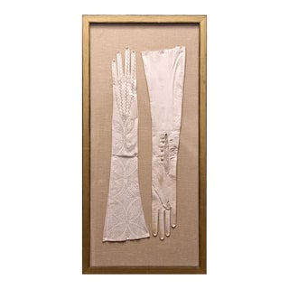 1920's French White Leather Gloves in Gold Frame For Sale