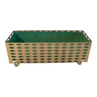 Mid Century Gold Metal Planter With Liner For Sale