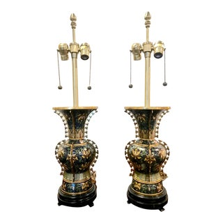 Pair Marbro Deco Chinese Gilt Bronze Lamps For Sale