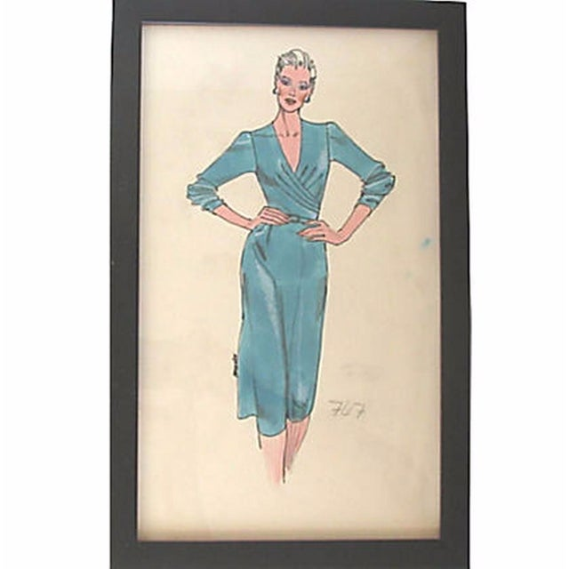 Framed Fashion Sketch for Neiman Marcus - Image 1 of 2