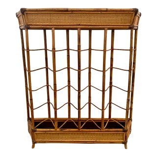 British Colonial Small Bamboo/Rattan & Leather Console Table by Selamat Designs For Sale